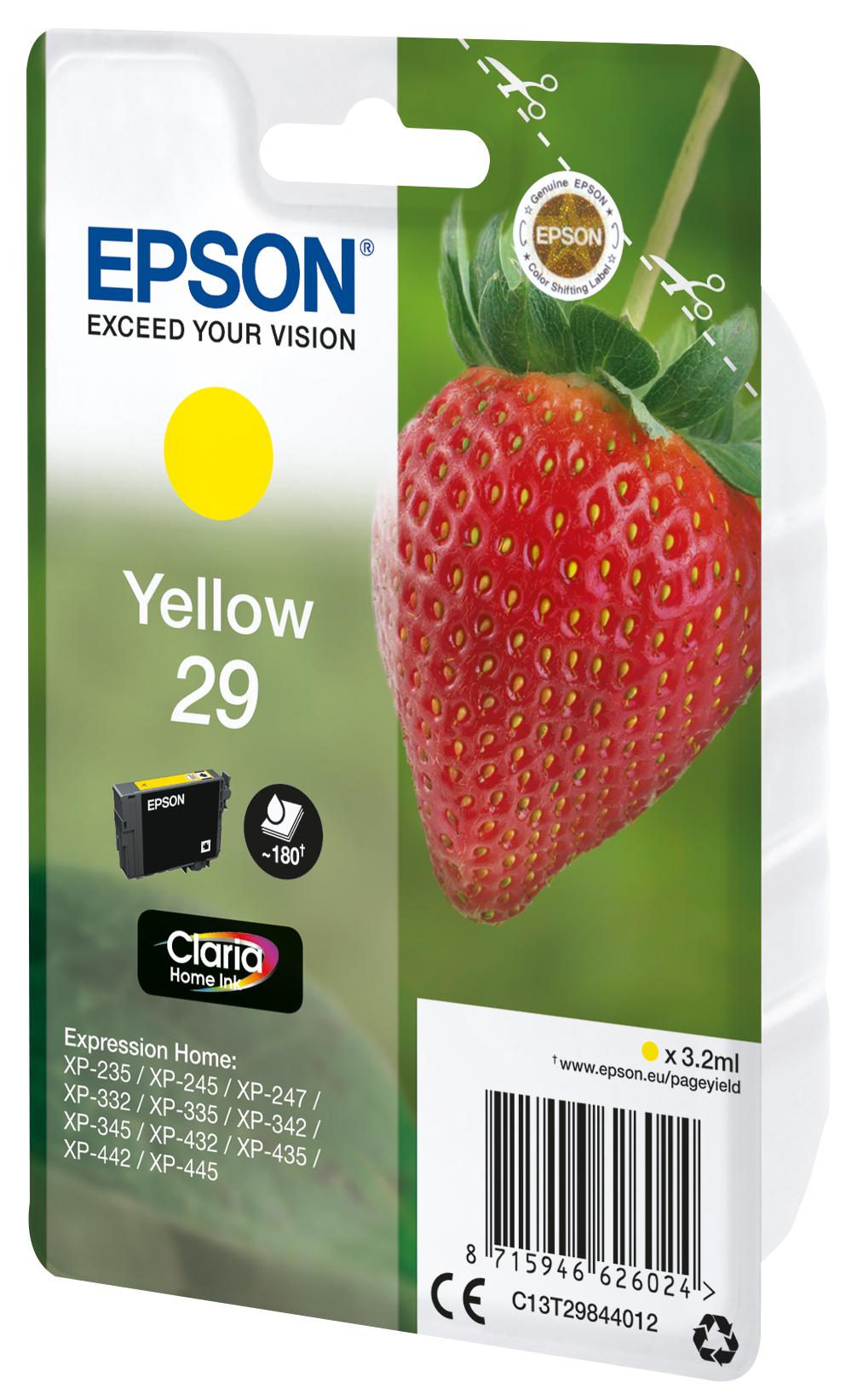 T2984 inkjetcartridge 29 geel (180 afdrukken)