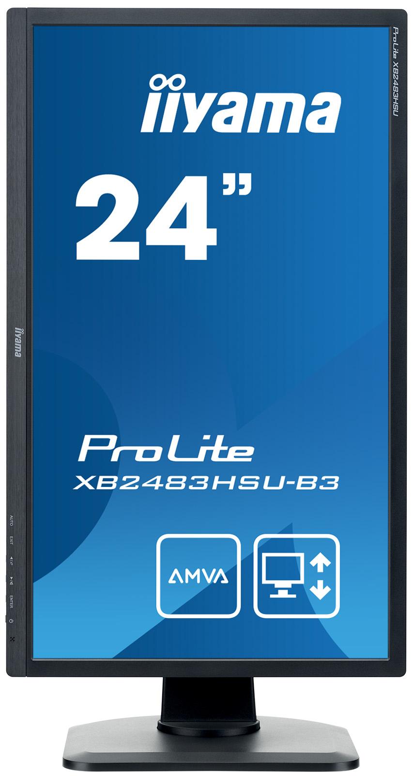 """ProLite XB2483HSU-B3 LED 24"""", 1920 x 1080 Full HD, A-MVA, 3000:1, 4 ms, HDMI, VGA, DisplayPort, speakers, zwart"""