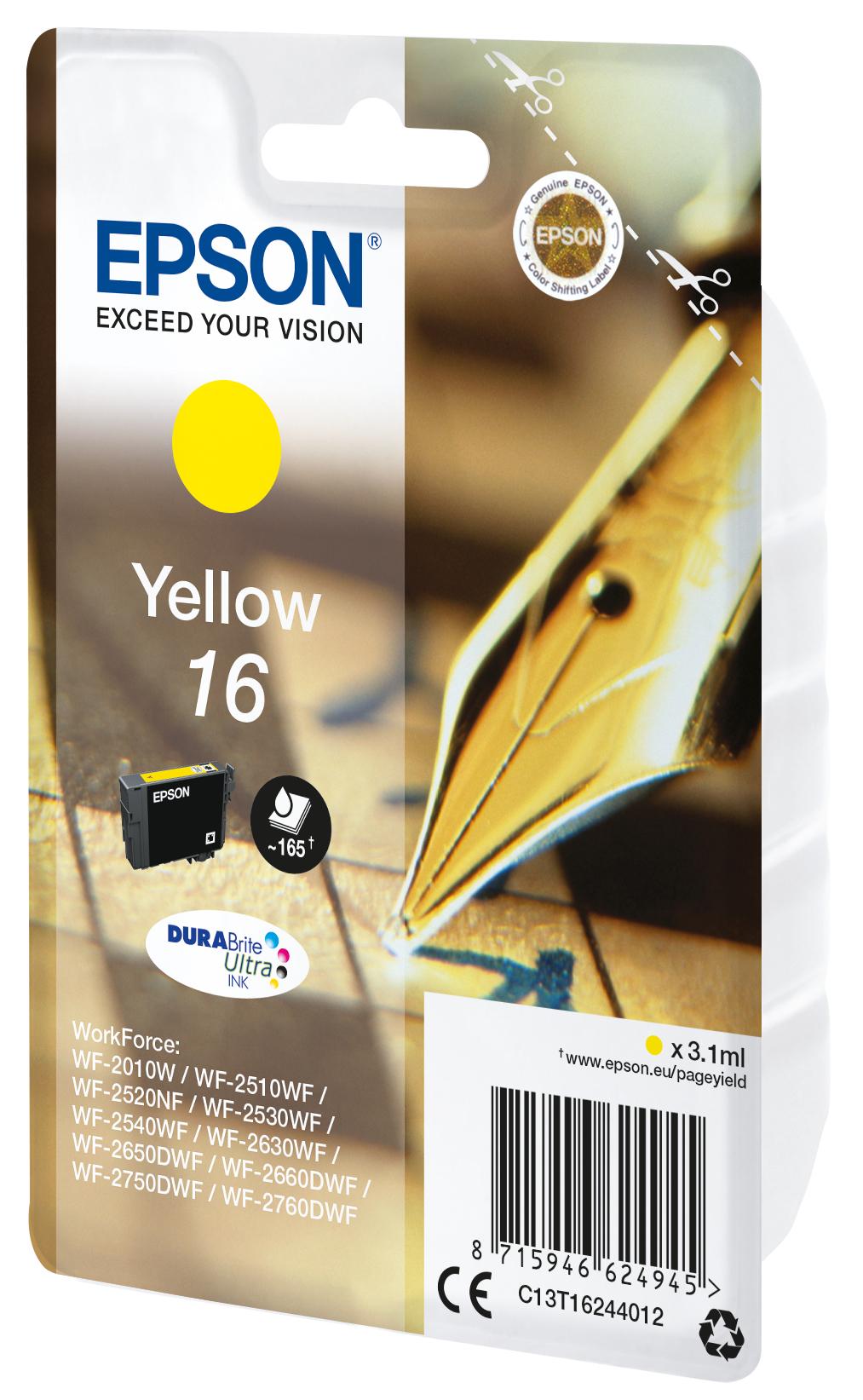 T1624 inkjetcartridge 16 geel (165 afdrukken)