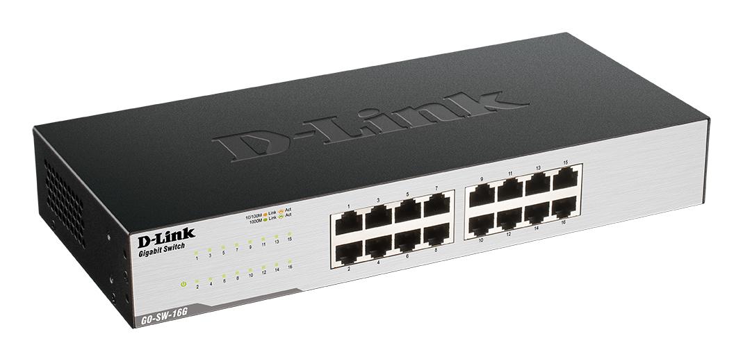 GO-SW-16G Gigabit Easy Desktop Switch (16 poorten, Auto MDI.MDIZ crossover, full/half-duplex)
