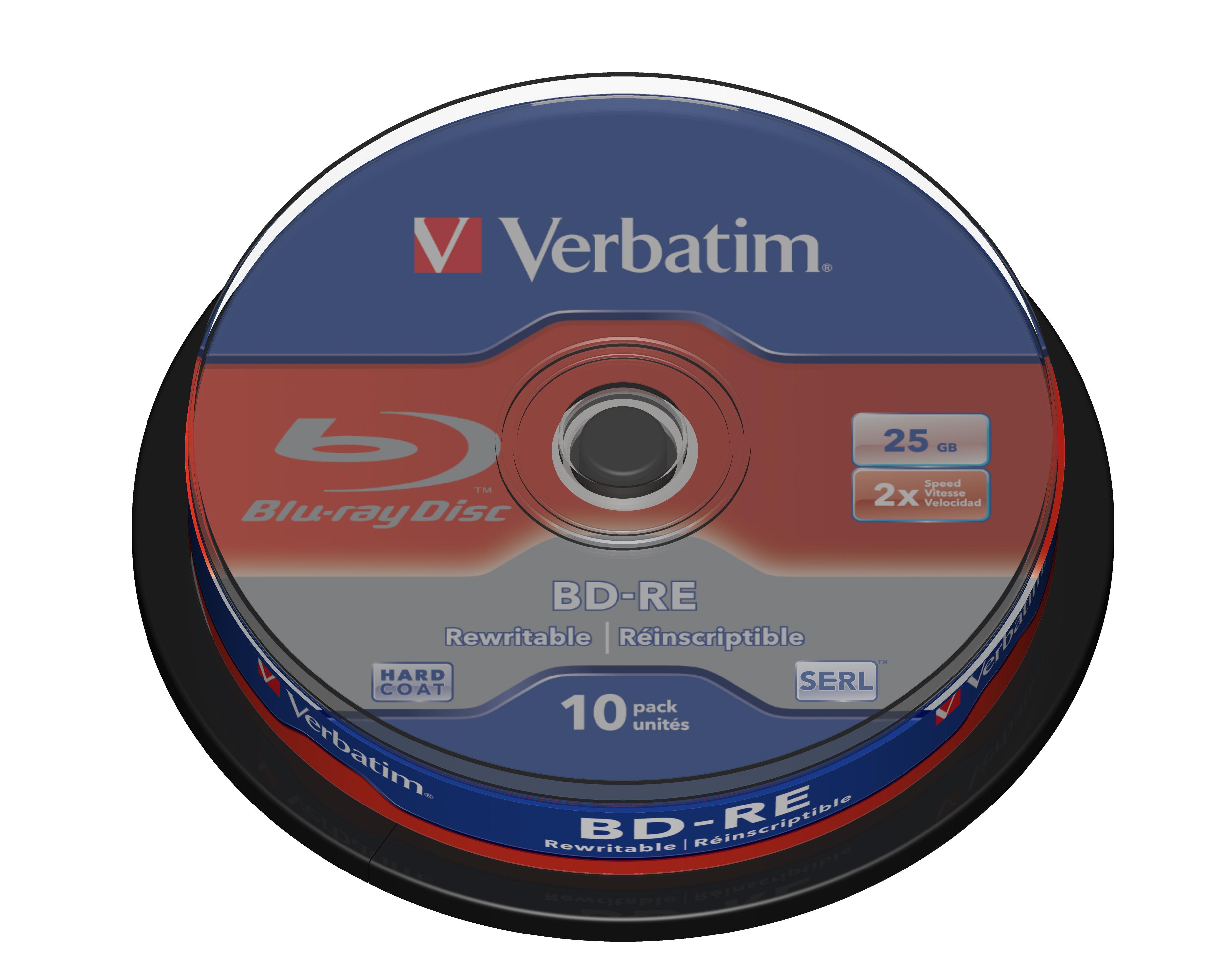 BD-RE 25 GB, 2 speed (10-pack spindel)