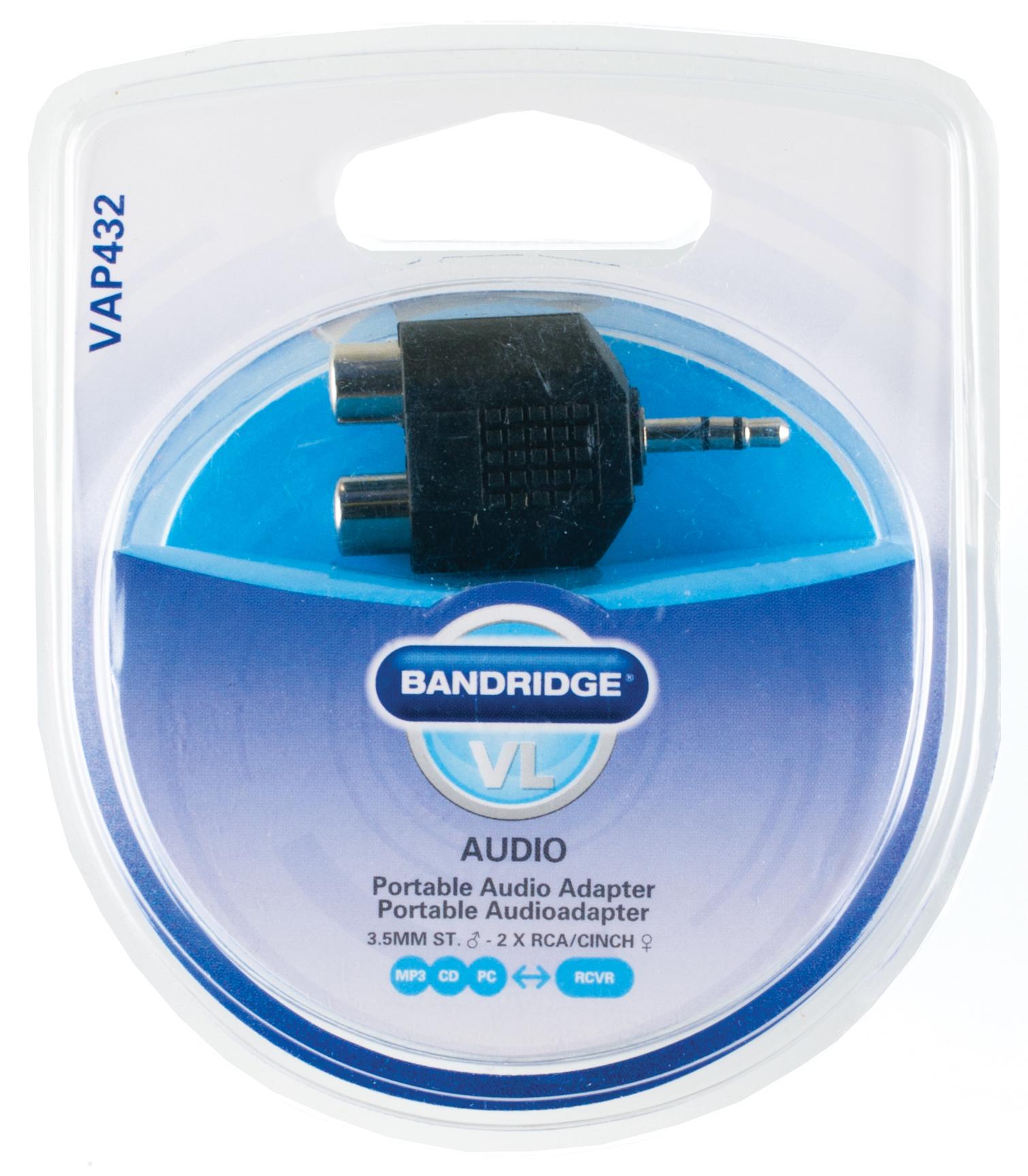 Audio adapter : 3,5 mm M naar 2 x RCA F
