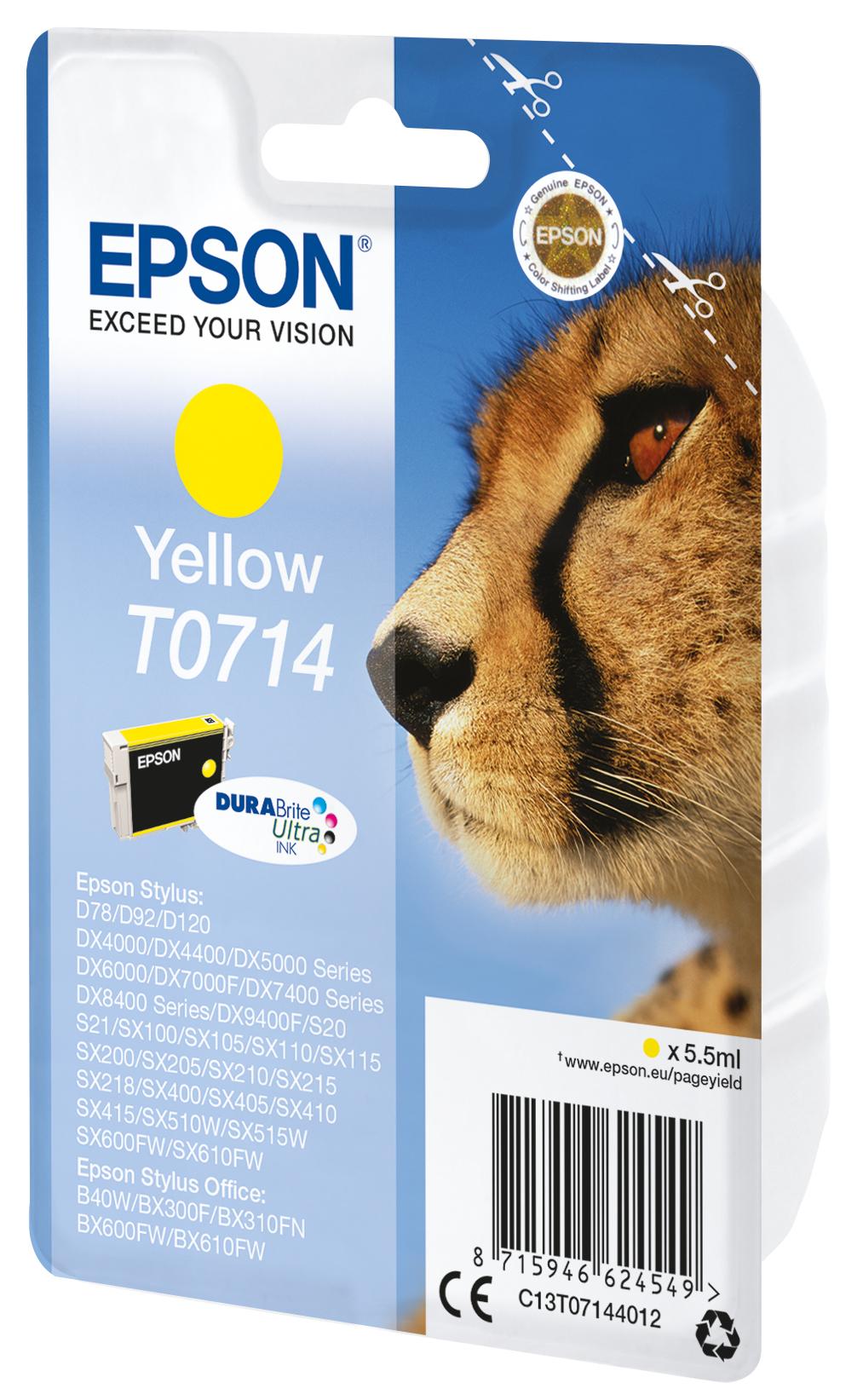 T0714 inkjetcartridge geel (425 afdrukken)