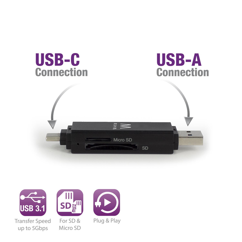 EW1075 Card reader (SD, TransFlash, microSD, SDHC, microSDHC, SDXC, microSDXC, USB 3.1 & USB-C)