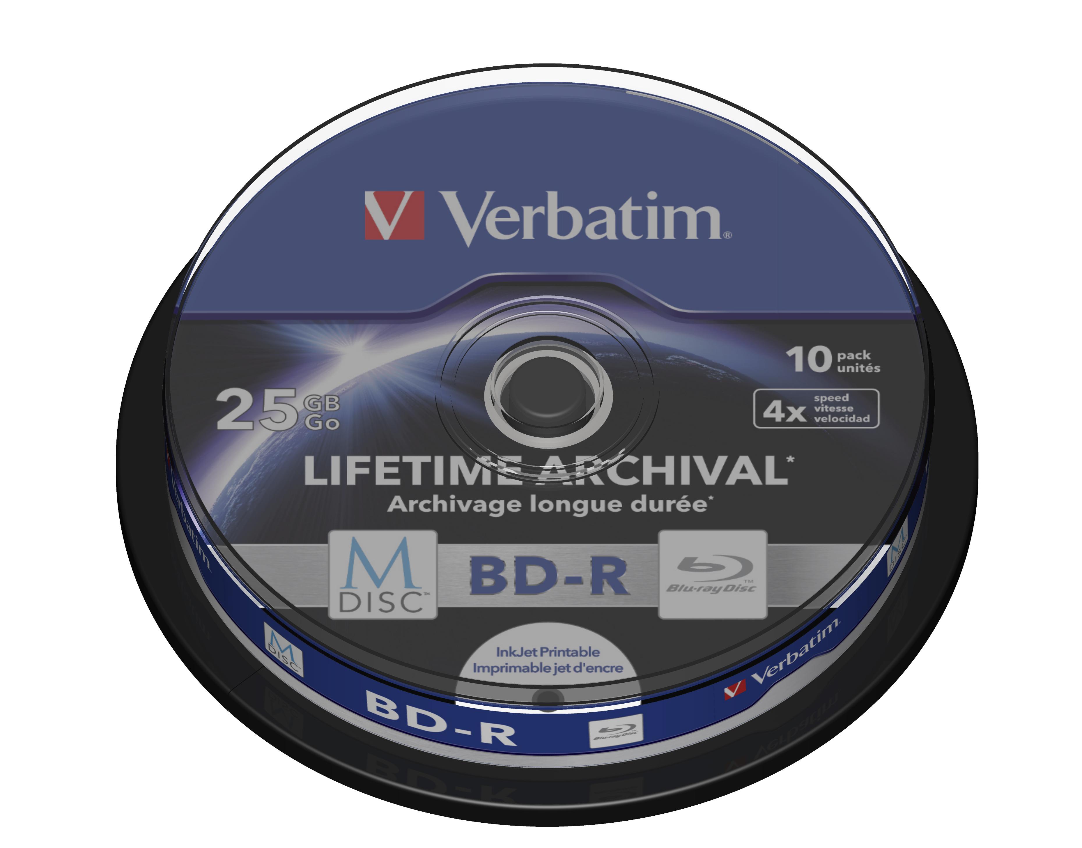 M-Disc BD-R 25 GB (4 speed, inkjet printable surface, 10-spindel)