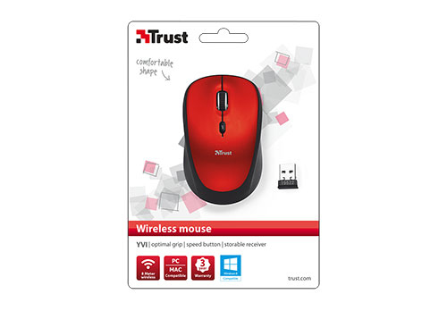 Yvi Wireless Mouse (rood)
