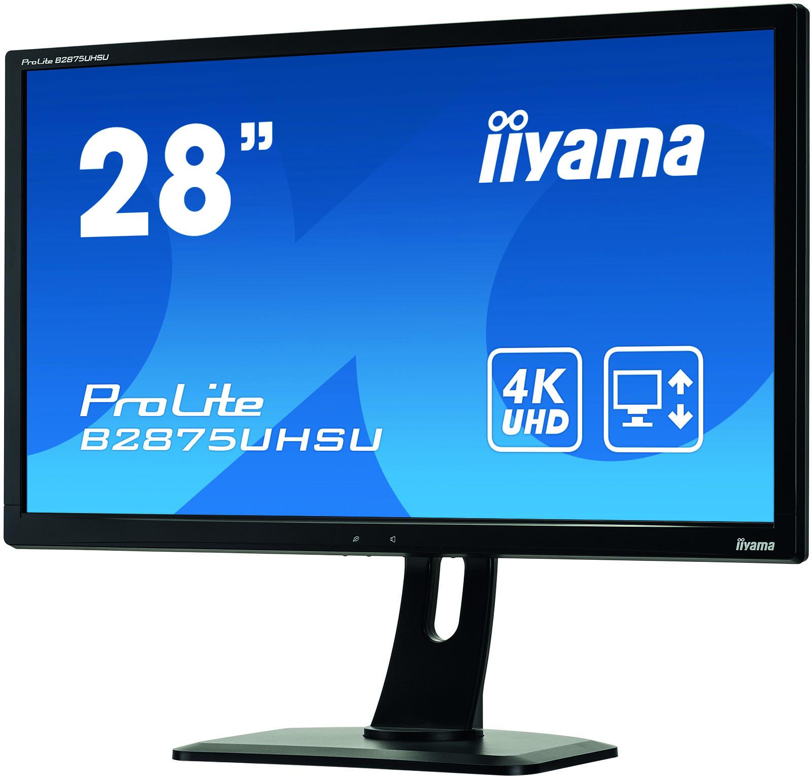 """ProLite B2875UHSU-B1 LED 28"""", 3840 x 2160 4K UHD, TN, 1000:1, 1 ms, HDMI, MHL, DVI, DisplayPort, VGA, speakers, zwart"""