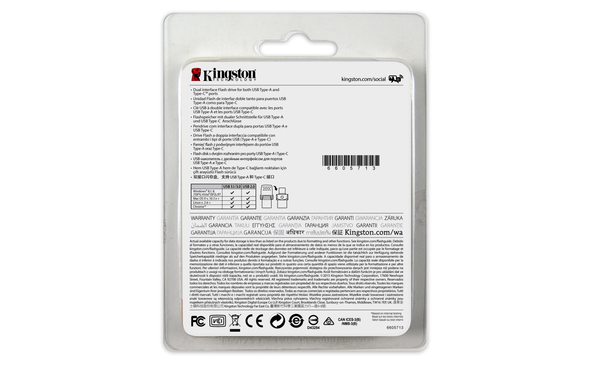DTDUO3C/32GB DataTraveler microDuo 3C 32 GB (USB 3.1)