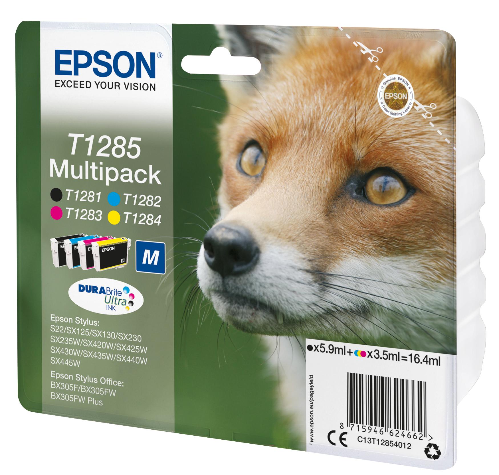 T1285 inkjetcartridges multipack (zwart, cyaan, geel en magenta)