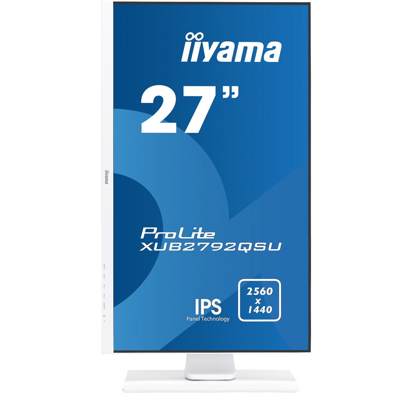 """ProLite XUB2792QSU-W1 LED 27"""", 2560 x 1440, IPS, 1000:1, 5 ms, HDMI, DVI, DisplayPort, speakers, wit"""