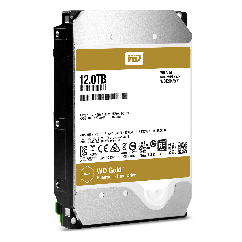 12.000 GB WD121KRYZ WD Gold Enterprise-Class (SATA 6 Gb/s, 7200 rpm, 256 MB cache)
