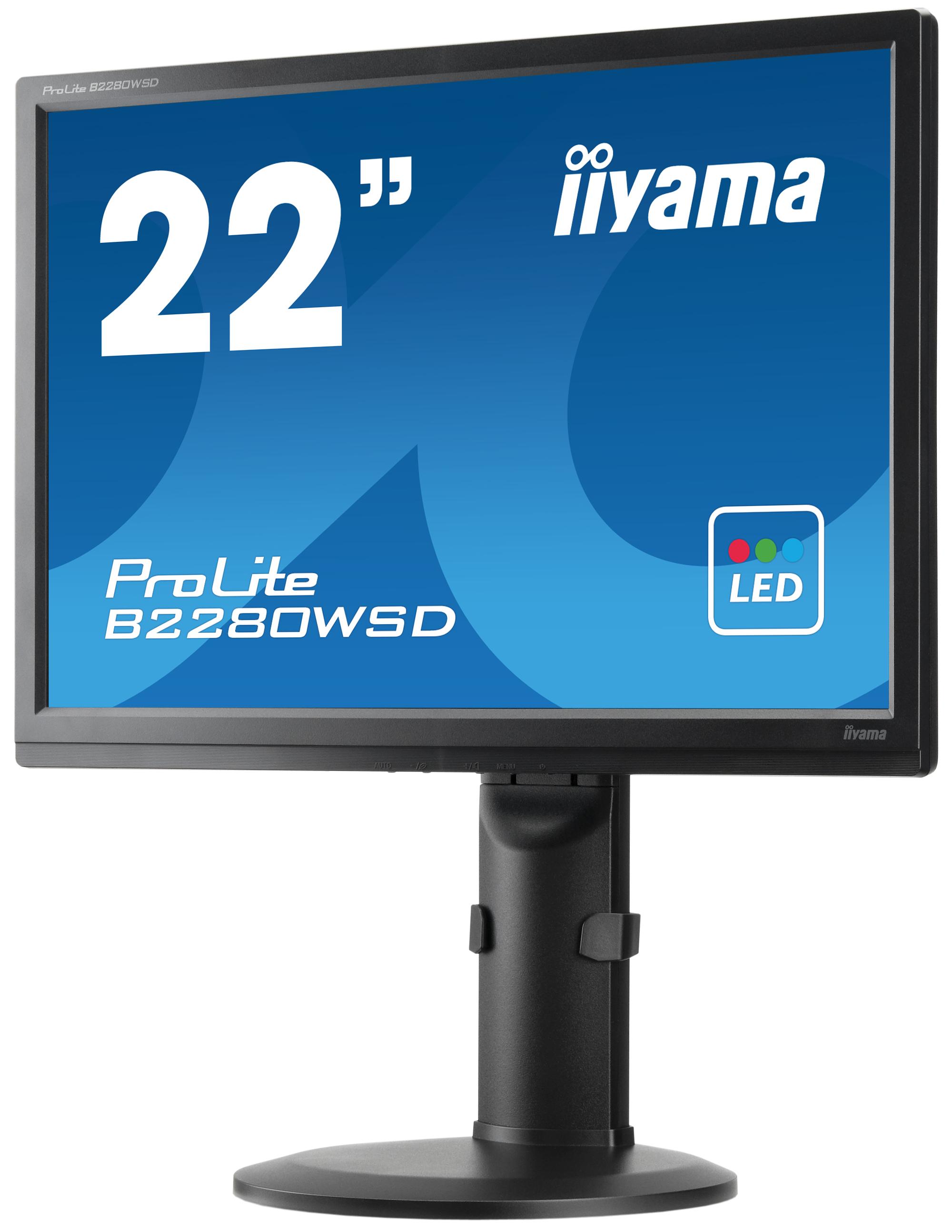 "B2280WSD-B1 LED 22"", 1680 x 1050, TN panel, Pivot, 5.000.000:1 ACR, speakers, DVI-D, HDCP, 5ms, zwart"