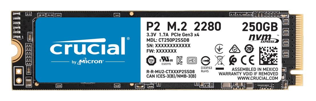 250 GB CT250P2SSD8 P2 SSD (M.2 2280, PCI Express 3.0 x4 NVMe)