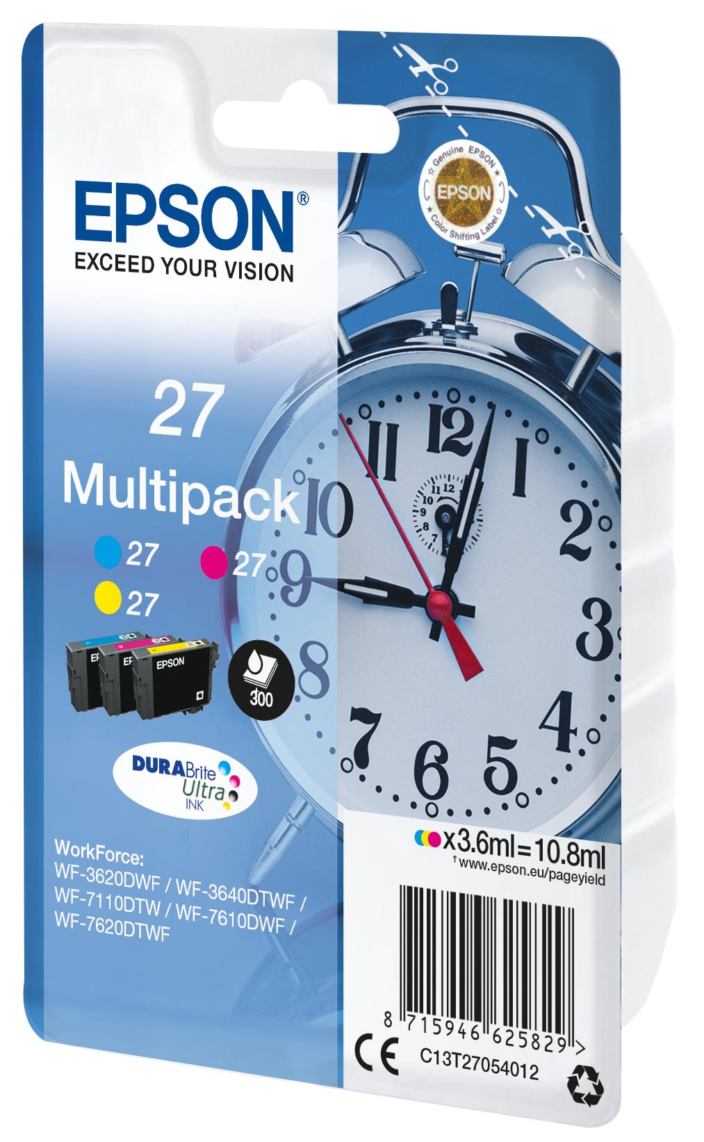 T2705 inkjetcartridges 27 multipack (cyaan, magenta en geel)