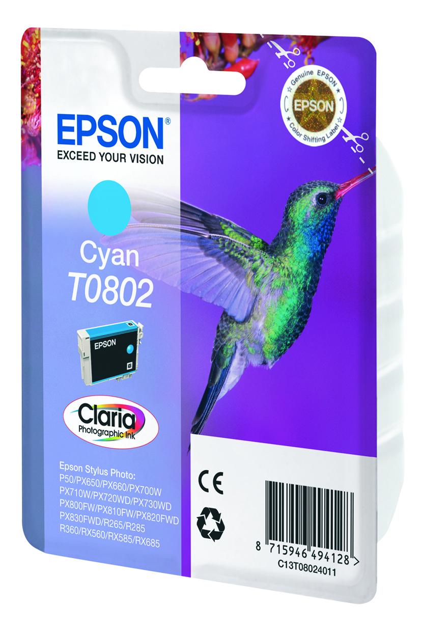 T0802 inkjetcartridge foto cyaan