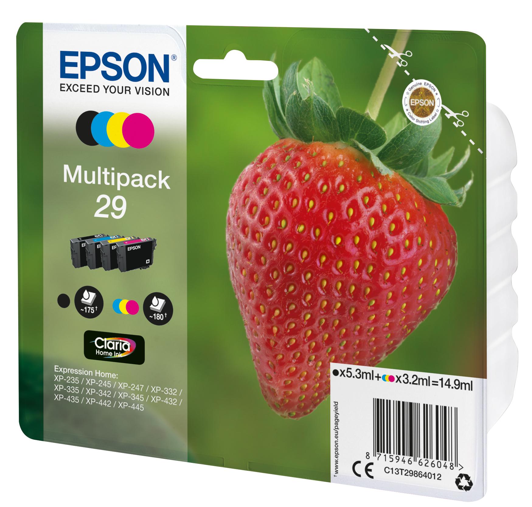 T2986 inkjetcartridges 29 multipack (zwart, cyaan, geel en magenta)