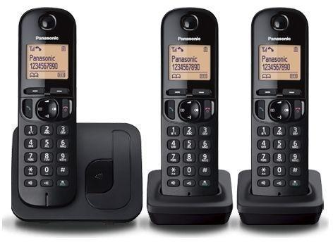KX-TGC213BLB Cordless phone (caller ID, call waiting, DECT/GAP, 2 extra handsets, zwart)