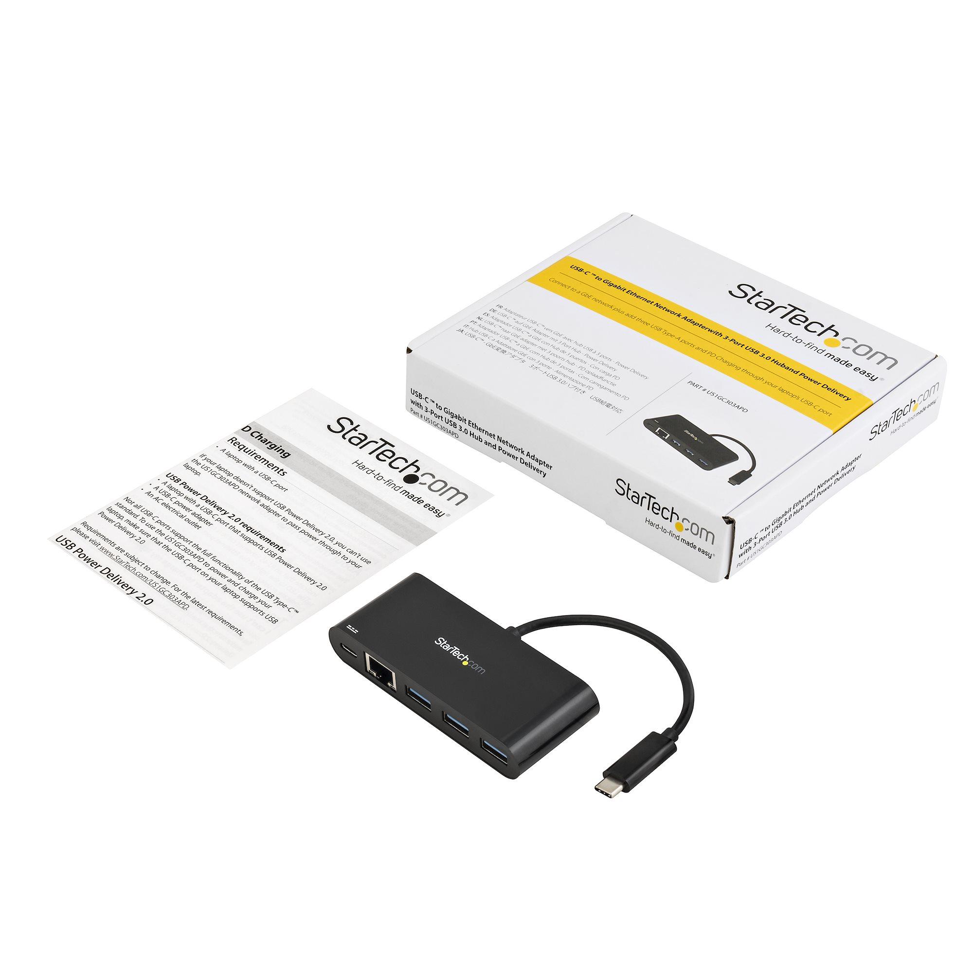 USB-C naar Ethernet Adapter (incl. 3-poort USB 3.0 Hub)