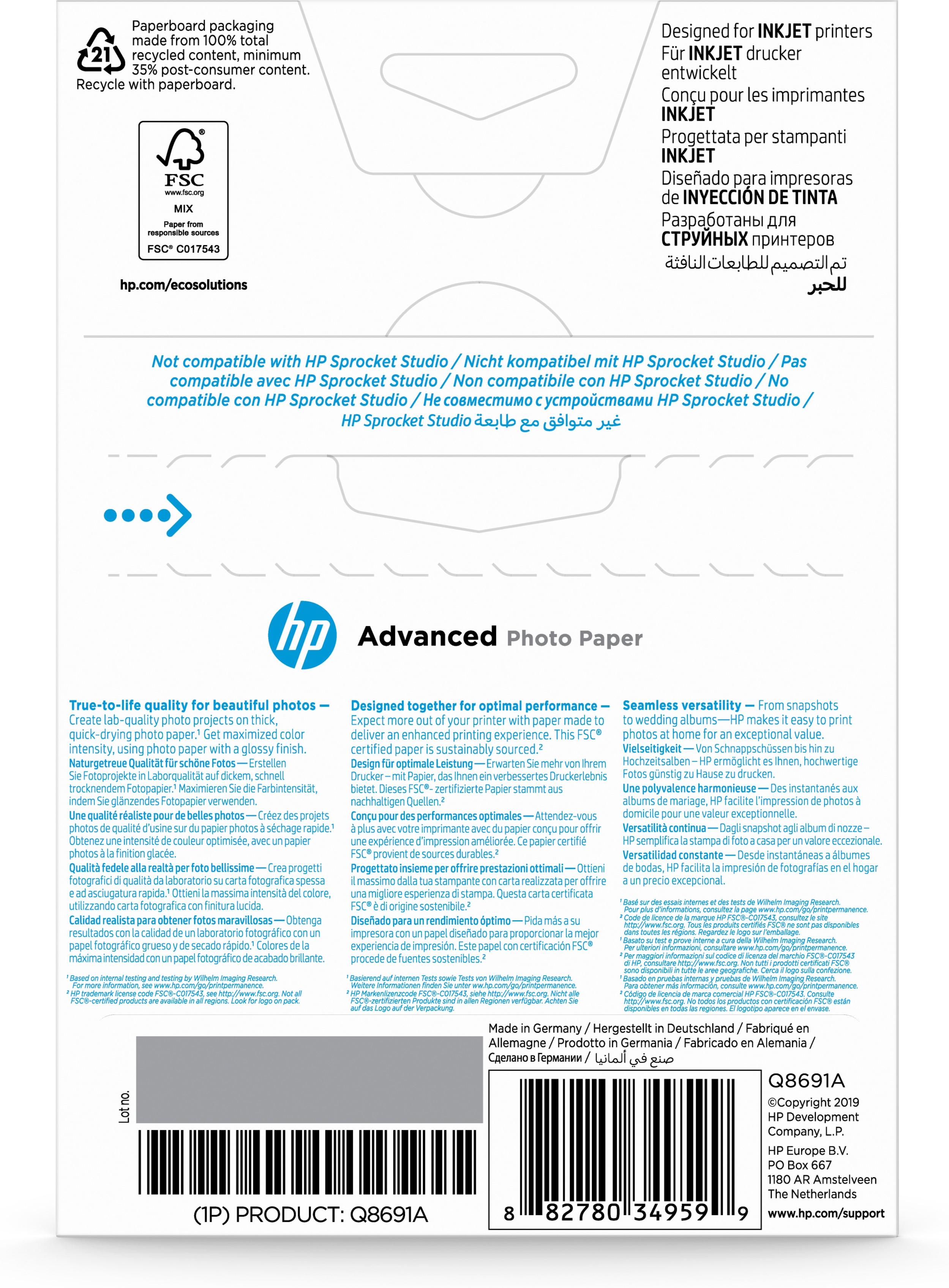 Q8691A Advanced Photo Paper (10 x 15 cm, 250 g/m², 25 vellen)