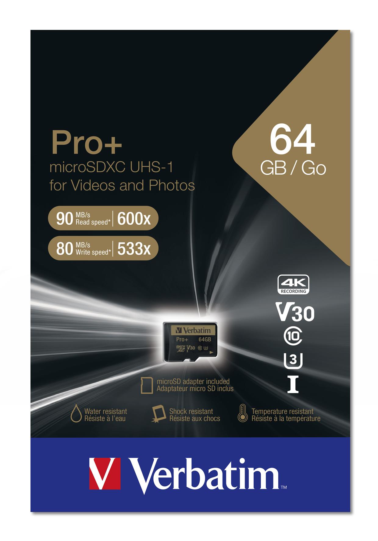 Pro+ Flash memory card 64 GB (UHS Class 3 / Class 10, microSDXC UHS-I)