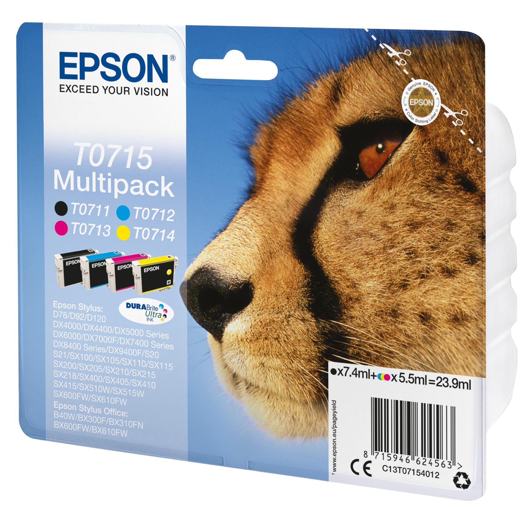T0715 inkjetcartridges multipack (zwart, cyaan, magenta en geel)