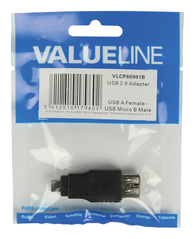 USB-adapter : USB A F naar micro B M (zwart)