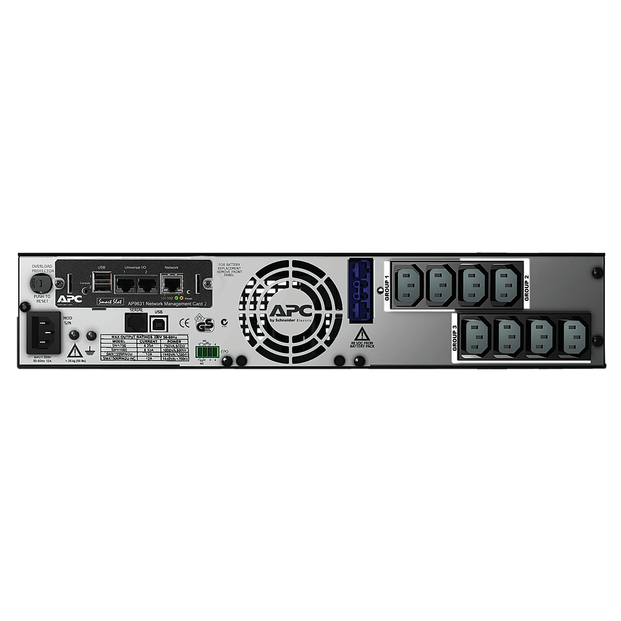 SMX1500RMI2UNC Smart-UPS X (1500 VA, Rack/Tower, LCD, rack-mountable, 1200 Watt, 1500 VA, Ethernet, RS-232, USB, 8 output connectors, 2U)