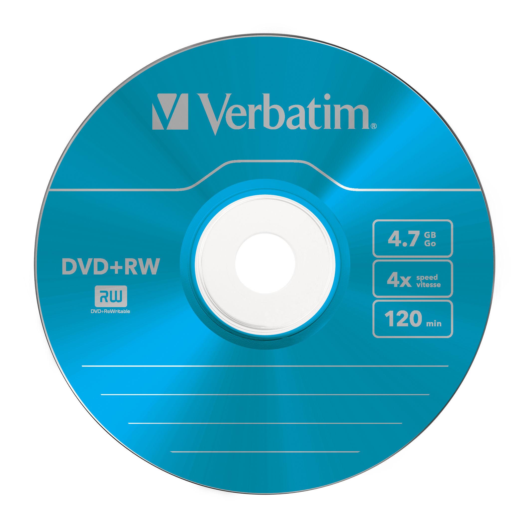 DVD+RW 4,7 GB, 4 speed (gekleurd, 5-pack slimcase)