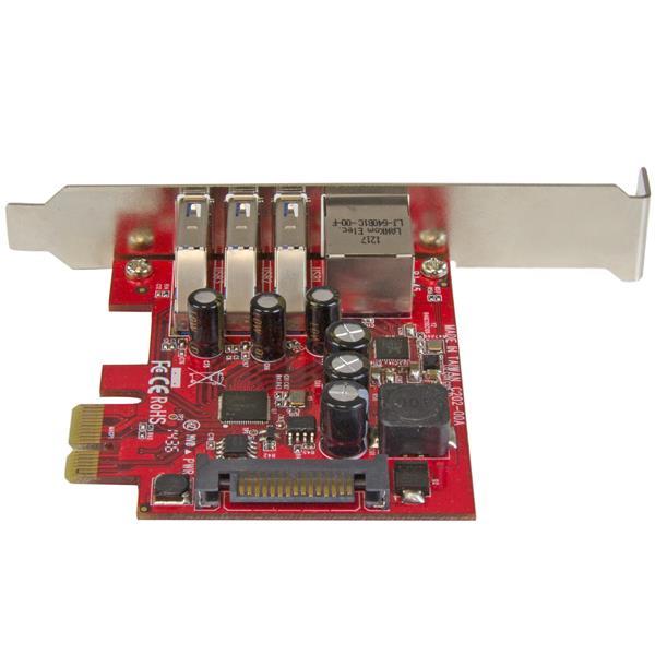 3-poort PCI Express USB 3.0 Card + Gigabit Ethernet