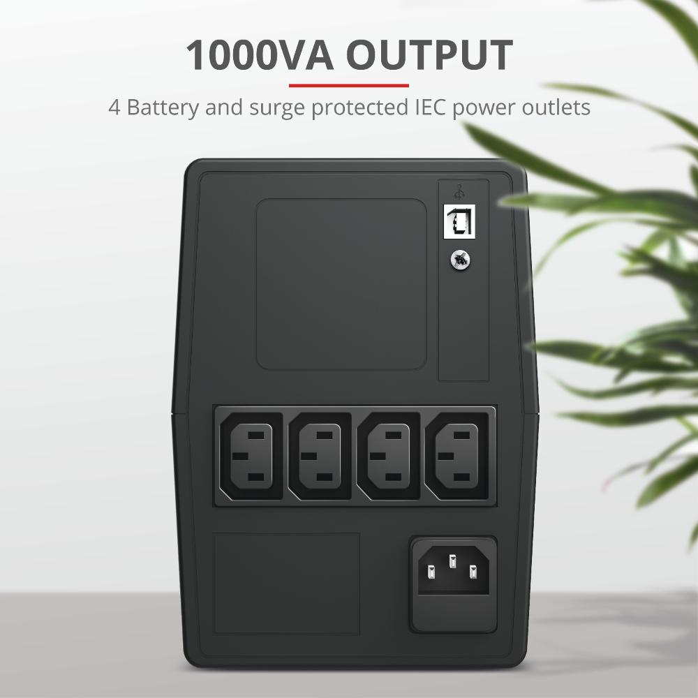 Paxxon 1000VA UPS (met 4 IEC stopcontacten)