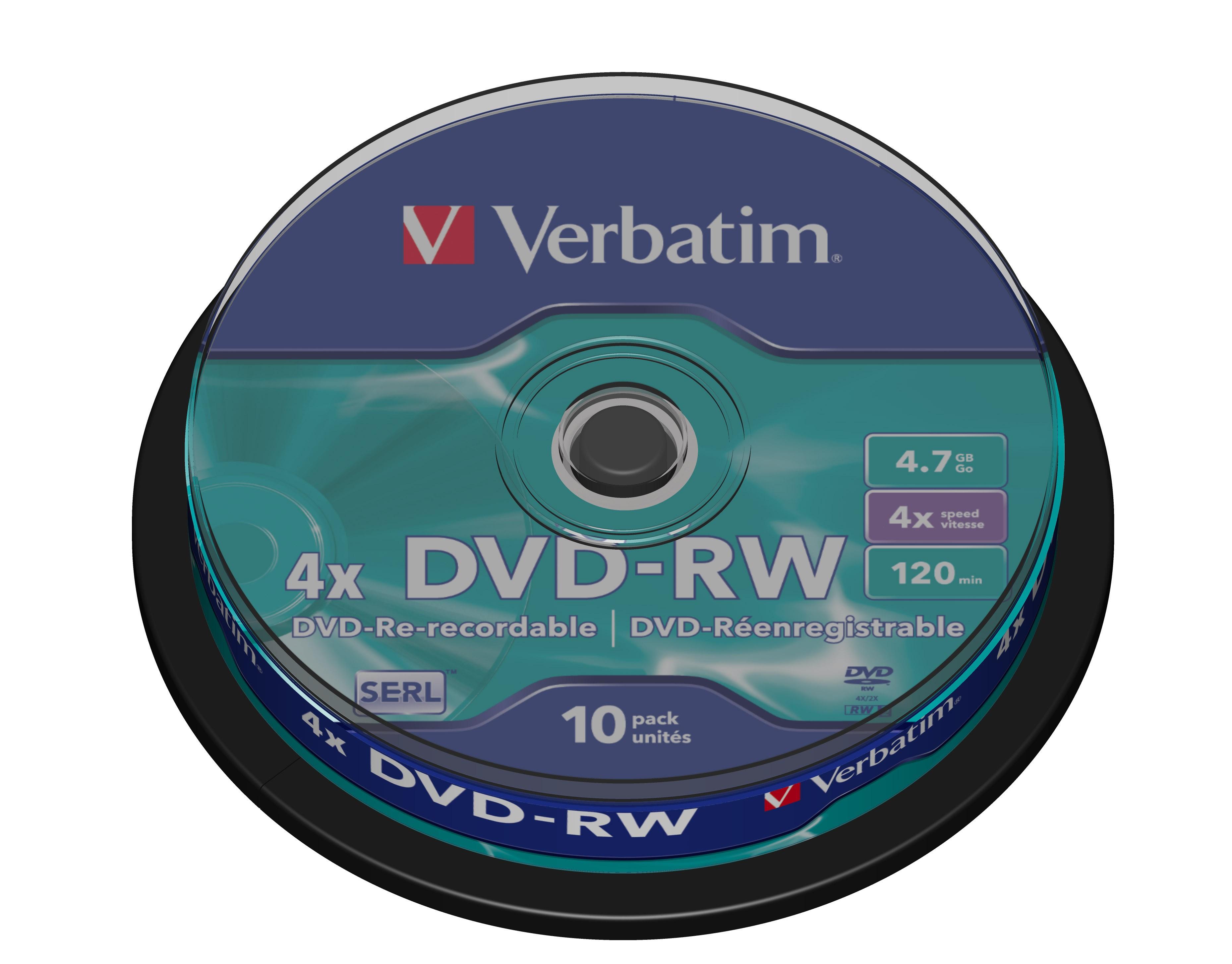 DVD-RW 4,7 GB, 4 speed, SERL, Scratch resistant (10-spindel)