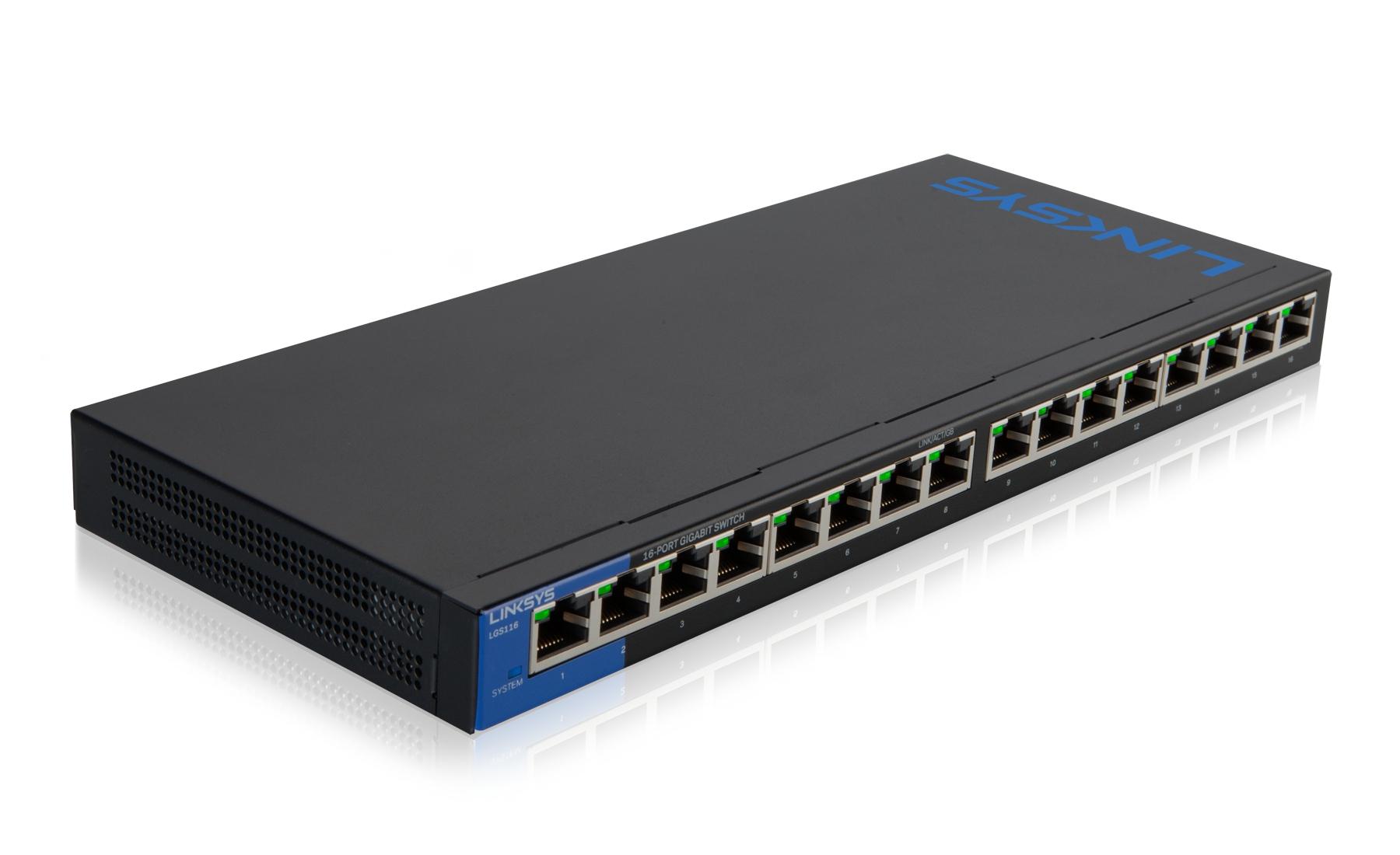 LGS116 Switch (unmanaged, 16 x 10/100/1000 poorten, desktop, wall-mountable)