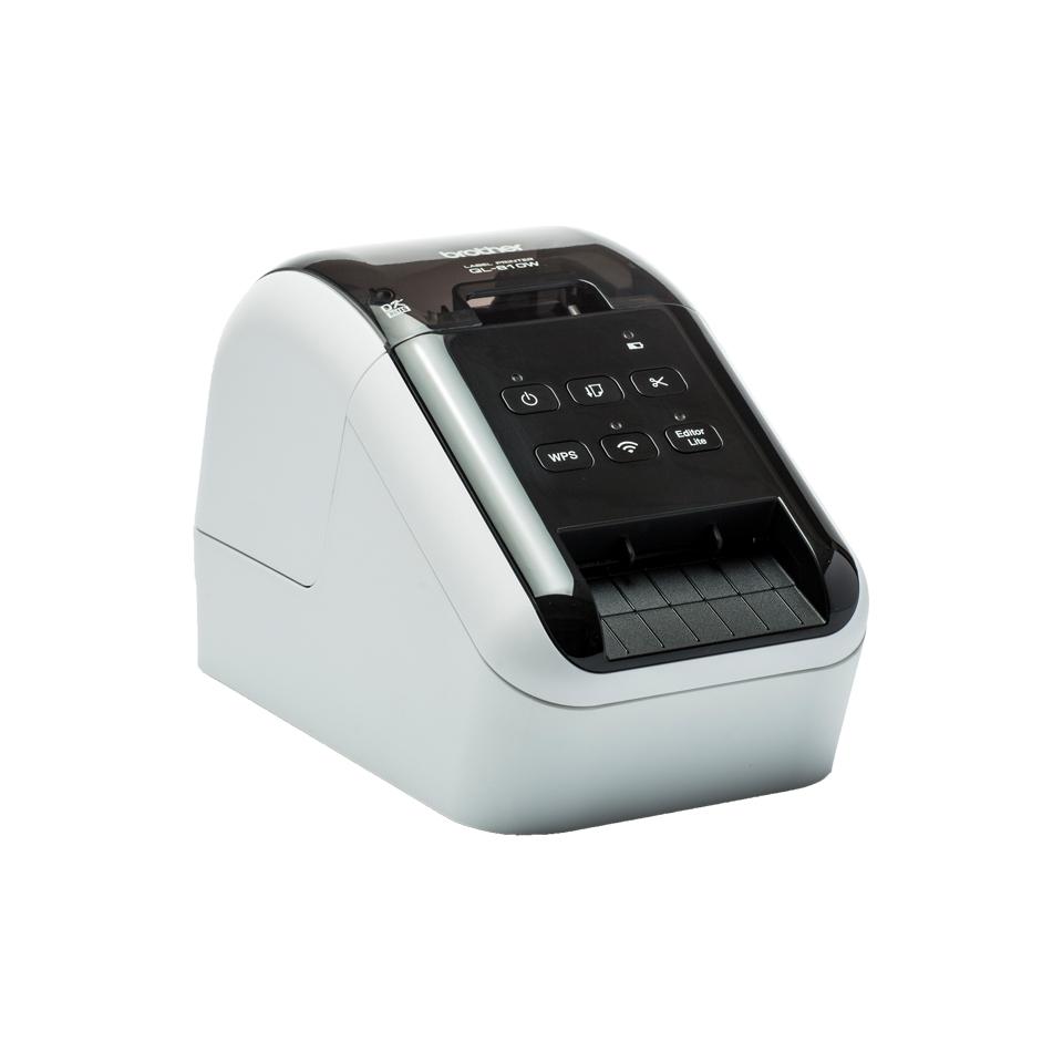 QL-810W Label printer (monochrome, thermisch papier, rol 6,2 cm, 300 x 600 dpi, tot 110 labels/min., USB 2.0, Wi-Fi, zwart/wit)