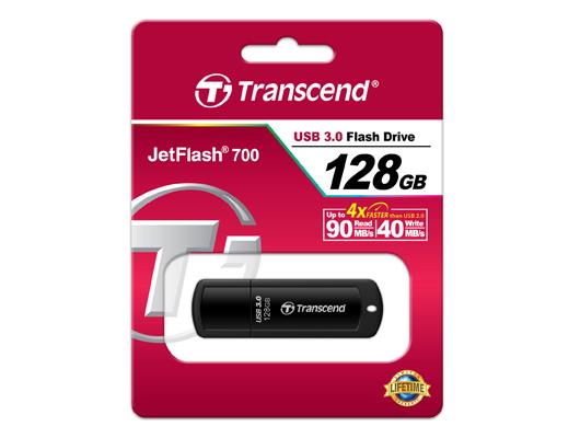 TS128GJF700 JetFlash 700 USB flash drive 128 GB (encrypted, USB 3.0, zwart)
