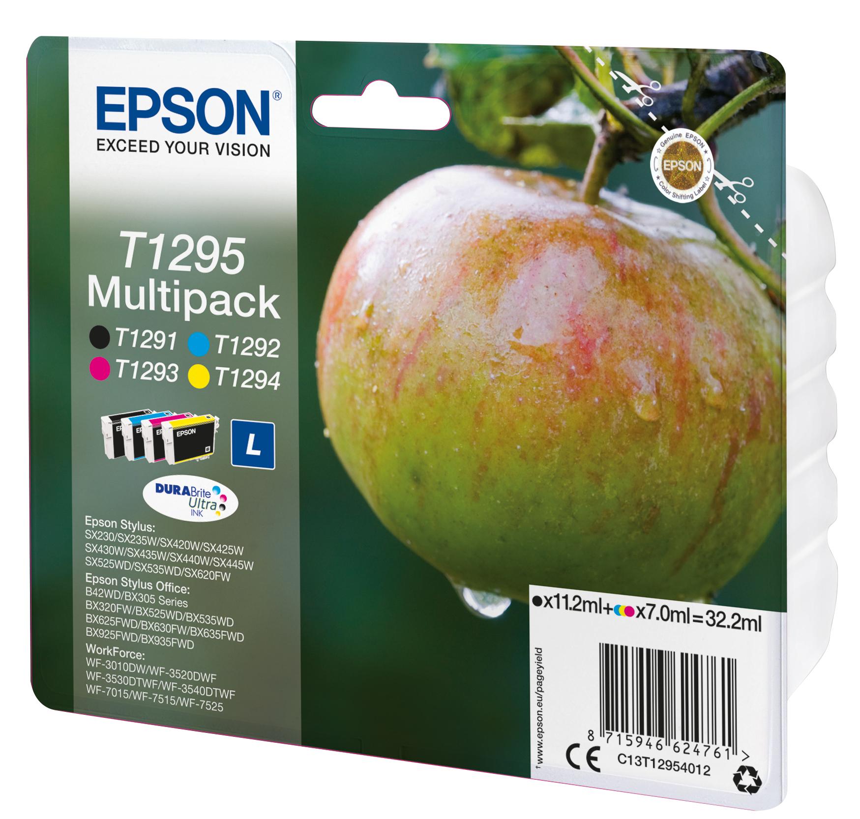 T1295 inkjetcartridges multipack (zwart, cyaan, magenta en geel)