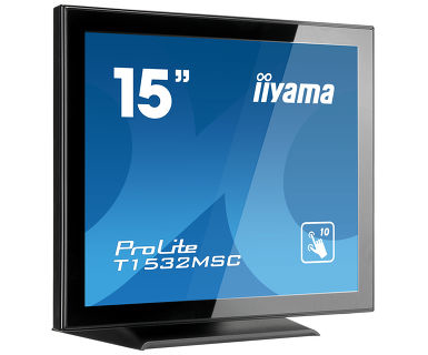 "ProLite T1532MSC-B5X LED 15"", touchscreen, 1024 x 768, XGA, TN, 700:1, 8 ms, HDMI, VGA, DisplayPort, speakers, zwart"
