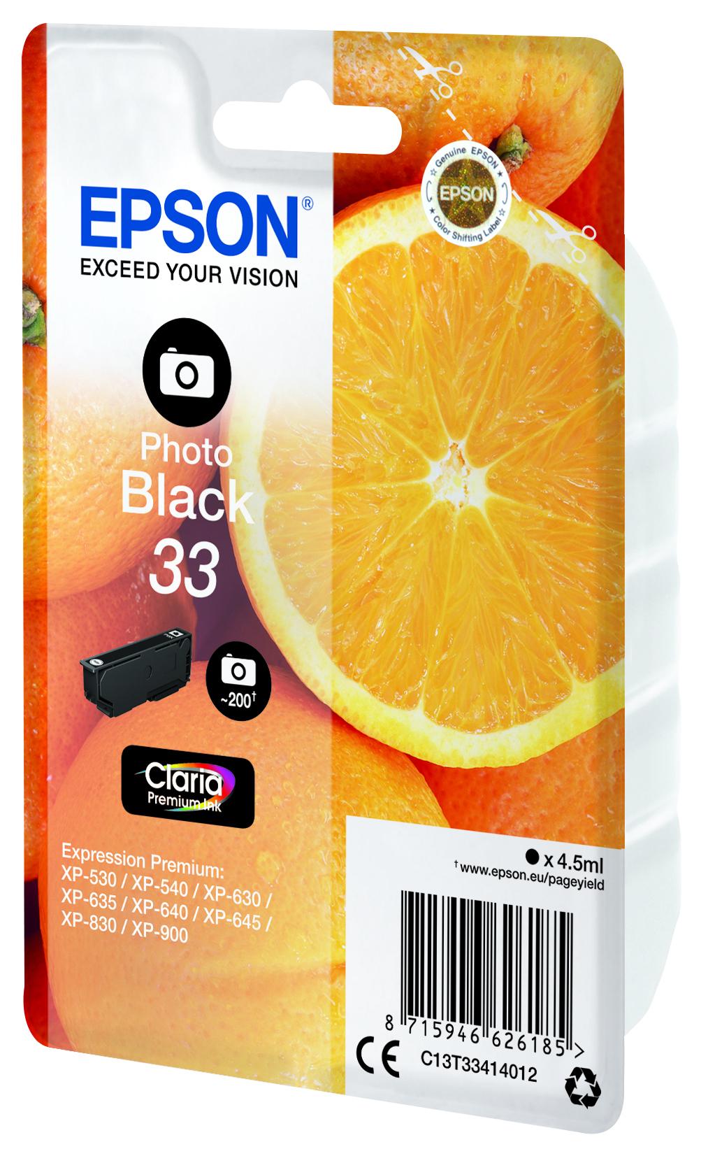 T3341 inkjetcartridge Claria 33 foto zwart (200 afdrukken)