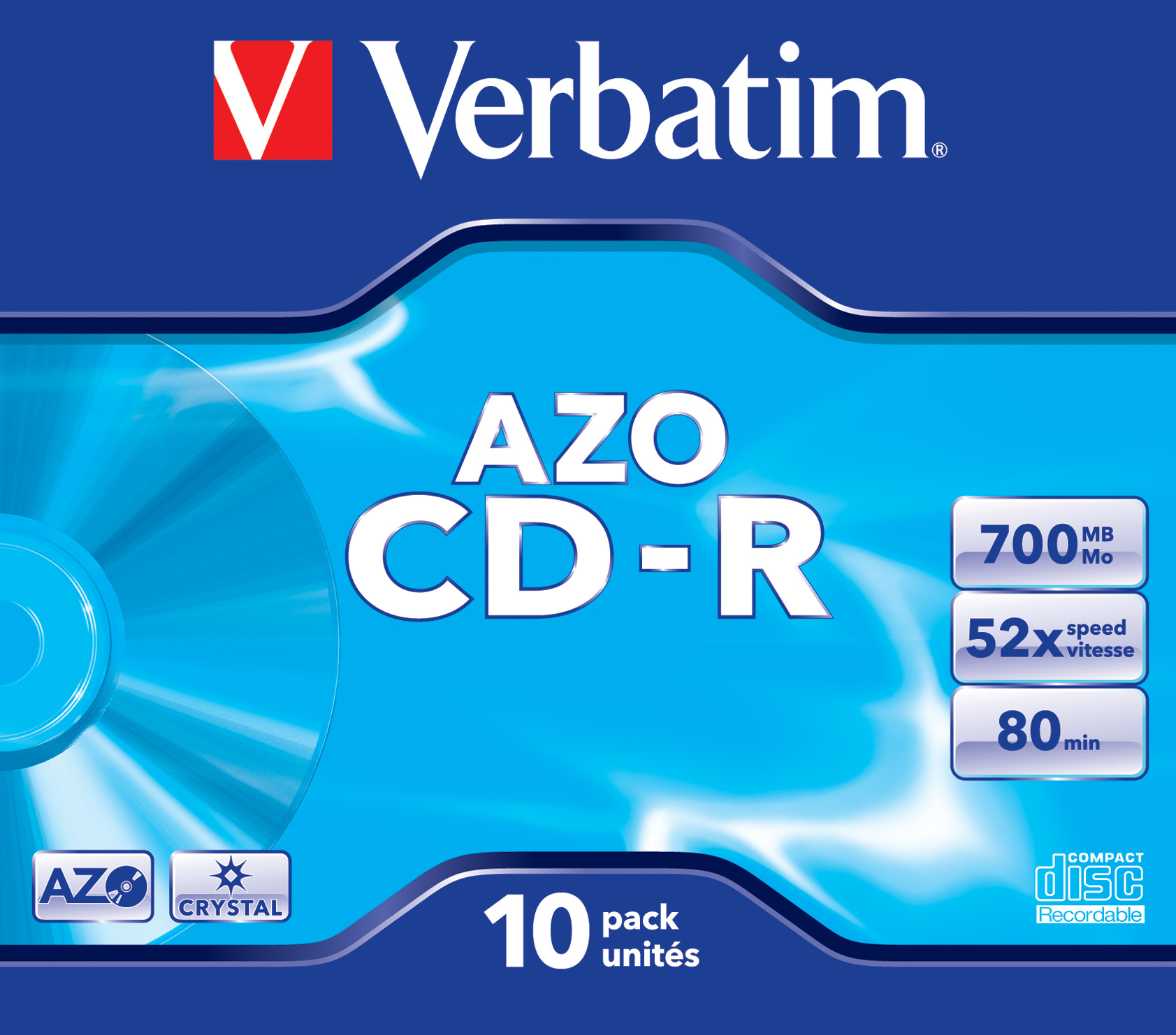 CD-R 700 MB, 52 speed (Super AZO Crystal Surface, 10-pack jewelcase)