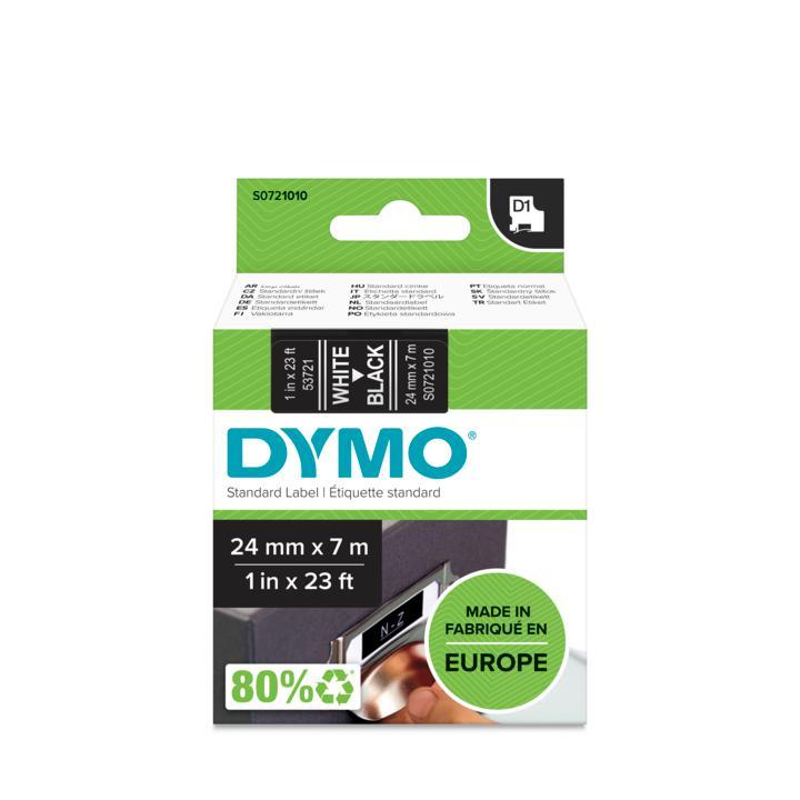 D1 Self-adhesive label tape (wit op zwart, 2,4 cm x 7 m)