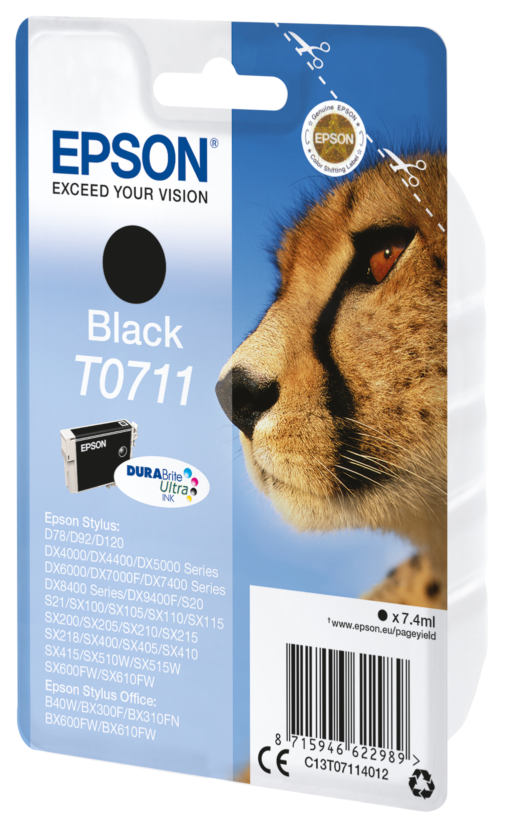 T0711 inkjetcartridge zwart (240 afdrukken)