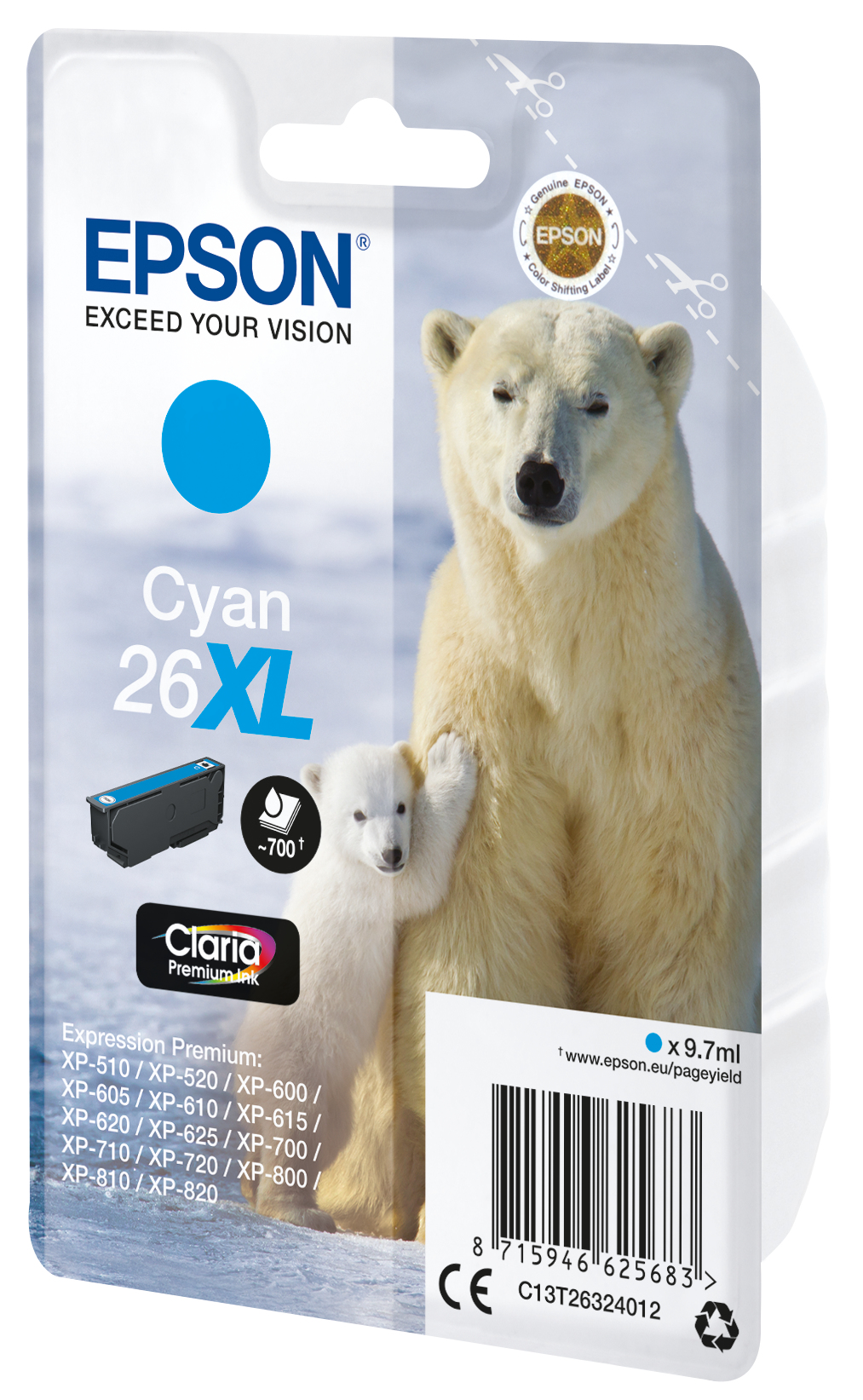 T2632 inkjetcartridge 26XL cyaan (700 afdrukken)