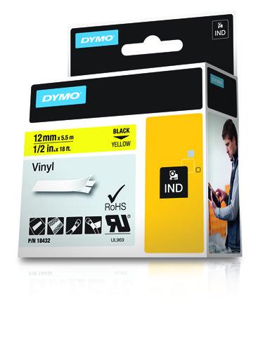 Rhino tape vinyl 12 mm (op geel)