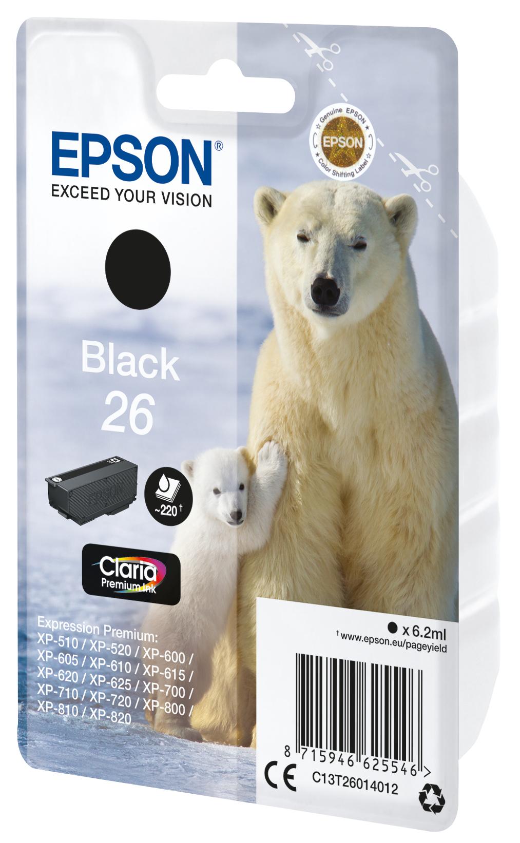 T2601 inkjetcartridge 26 zwart (220 afdrukken)