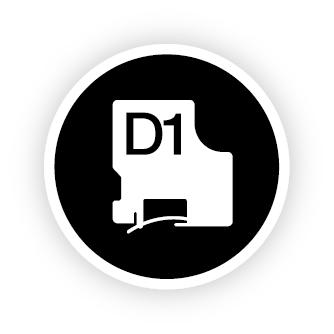 S0720830 D1 Label Cassette (zwart op wit, 19 mm x 7 meter)