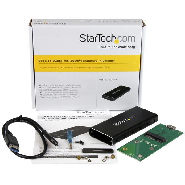 USB 3.1 Gen 2 10 Gbps mSATA (solid aluminum drive enclosure voor mSATA en mSATA Mini, ondersteund SATA III)