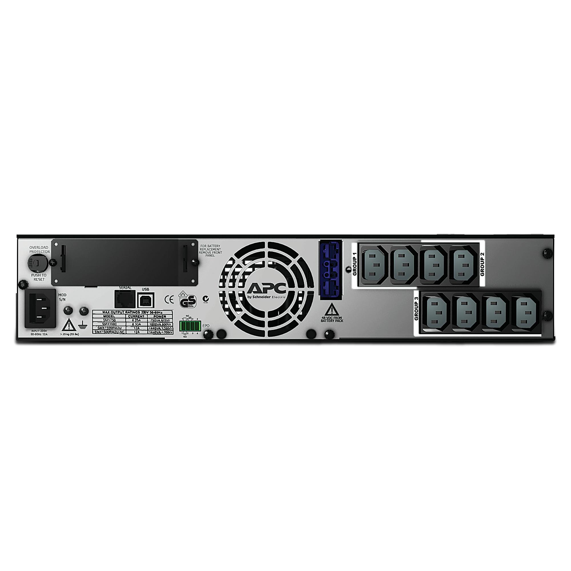 SMX1500RMI2U Smart-UPS X (1500 VA, Rack/Tower, LCD, rack-mountable, 1200 Watt, 1500 VA, RS-232, USB, 8 output connectors, 2U)