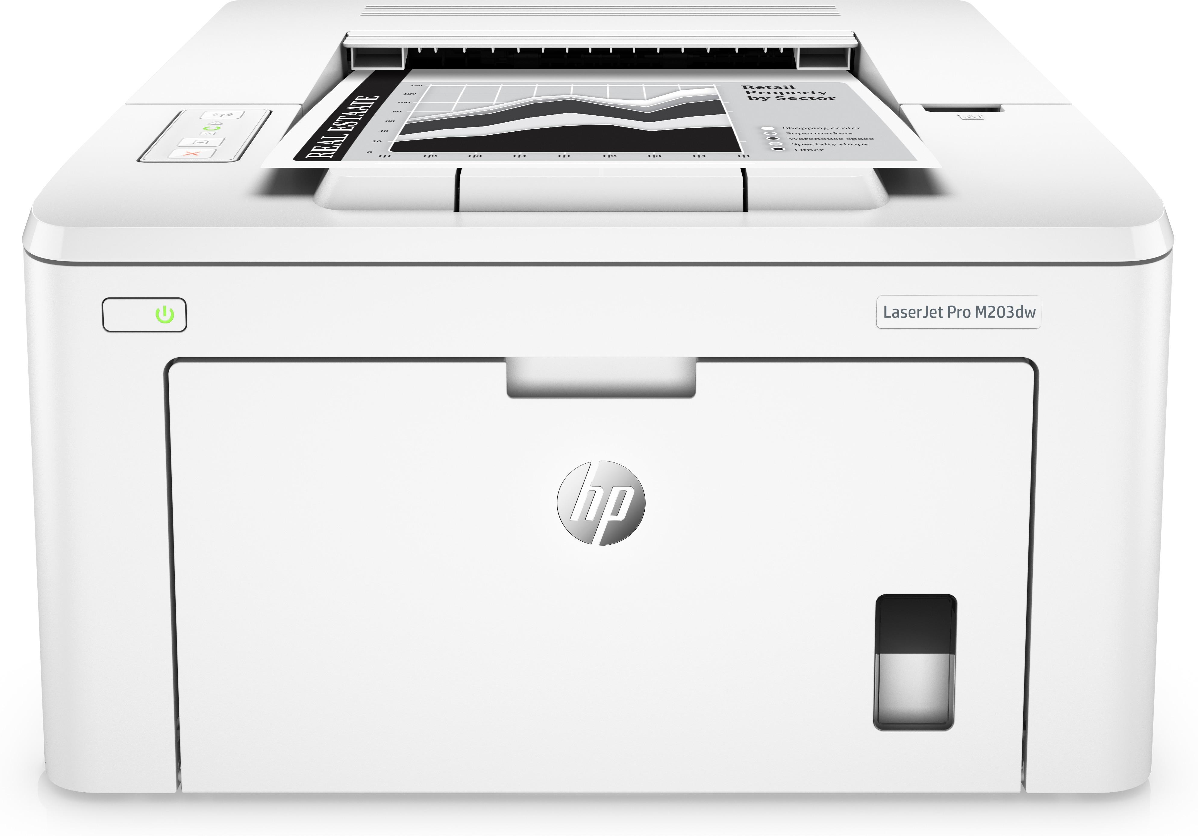 LaserJet Pro M203dw Laserprinter (monochrome, duplex, A4, 1200 x 1200 dpi, 28 ppm, USB 2.0, LAN, Wi-Fi)