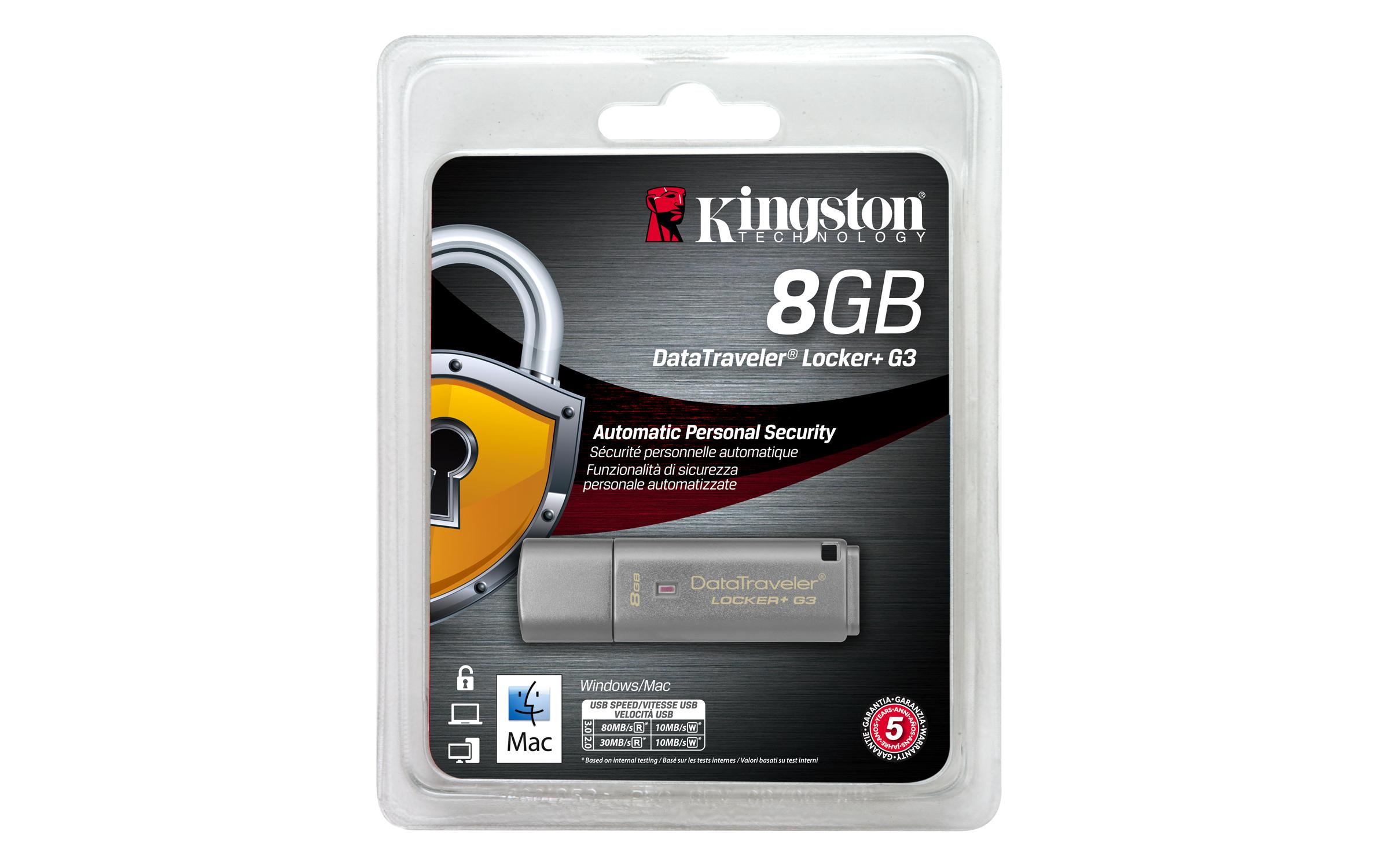 DTLPG3/8GB DataTraveler Locker+ G3 USB flash drive 8 GB (USB 3.0)