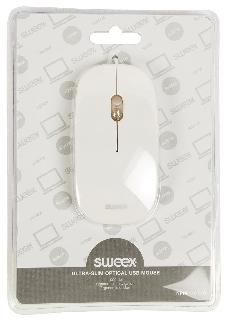 Ultra Slim Optical Mouse (wit, USB)