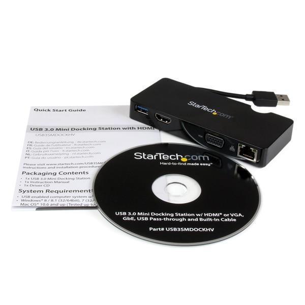Universal USB 3.0 Laptop Mini Docking Station (HDMI, VGA, Gigabit Ethernet)